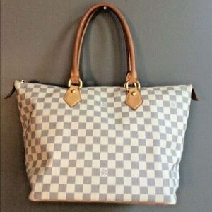 Auth LV Damier Azur Canvas Saleya MM Bag